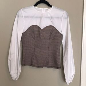 Corset waisted blouse top